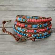Items similar to Turquoise wrap bracelet Yoga Bead wrap bracelet Coral Turquoise bead bracelet weaving seed bead bracelet gypsy wrap bracelet Jewelry on Etsy Beaded Wrap Bracelets, Bohemian Bracelets, Unique Bracelets, Seed Bead Bracelets, Beaded Jewelry, Jewelry Bracelets, Craft Jewelry, Necklaces, Jewellery