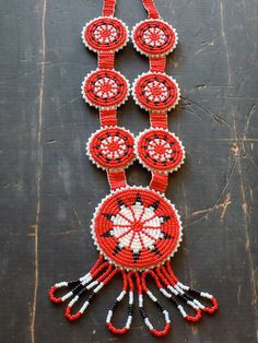 Native American Beaded Necklace Red Glass Beads by SararaVintage