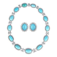 Chantecler Capri Turquoise Diamond Necklace Set   From a unique collection of vintage more jewelry at https://www.1stdibs.com/jewelry/more-jewelry-watches/more-jewelry/
