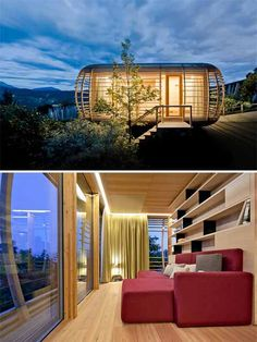 Following the Loftcube, German designer Werner Aisslinger brings us his new version for the mobile sustainable living unit; he calls it Fincube. The structure of this small prefab home resembles a wooden mushroom. It can be used as a guest house in your garden, a cabin in the woods, a home office, a conference room and more.