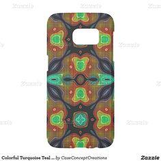 Colorful Turquoise Teal Orange Bali Batik Pattern Samsung Galaxy S7 Case