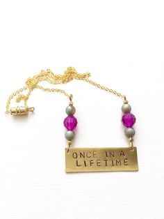 "Stamped Metal Gold Bar Necklace: Talking Heads Song - ""Once In A Lifetime""  Gypsies En Regalia Etsy!"