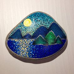 Sunset above the sea Painted stone painted rock Fairy garden marker decoration stone art dotilism blue