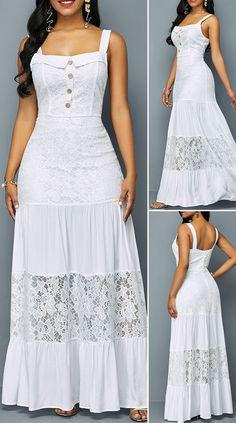 Button Detail Ruffle Hem Lace Patchwork Dress - New Site Pretty Dresses, Sexy Dresses, Beautiful Dresses, Dress Outfits, Casual Dresses, Dresses For Work, Summer Dresses, Formal Dresses, Wedding Dresses