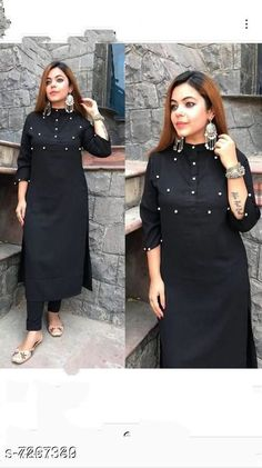 Checkout this latest Kurta Sets Product Name: *Women's Solid Black Rayon Kurta Set with Pants* Kurta Fabric: Rayon Bottomwear Fabric: Rayon Fabric: Rayon Sleeve Length: Three-Quarter Sleeves Set Type: Kurta With Bottomwear Bottom Type: Pants Pattern: Solid Multipack: Pack Of 2 Sizes: XXL (Shoulder Size: 16 in, Kurta Waist Size: 44 in, Kurta Length Size: 44 in)  Country of Origin: India Easy Returns Available In Case Of Any Issue   Catalog Rating: ★4.1 (206)  Catalog Name: Women Cotton Blend A-line Printed Long Kurti With Palazzos And Dupatta CatalogID_1162034 C74-SC1853 Code: 515-7267330-9951