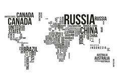 Typography vector world map in word cloud thing pinterest wereldkaart typografie landen gumiabroncs Image collections