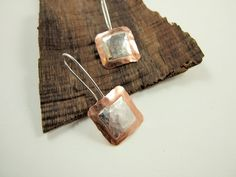 Earrings, Sterling Silver, Copper Square with Silver Square Overlay, Dropper £18.00