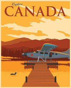 Explore Canada Hand Signed Poster by Steve Thomas Illustrations, Illustration Art, Think Poster, Steve Thomas, Canadian Travel, Futuristic Art, Vintage Art Prints, Vintage Travel Posters, Poster Vintage