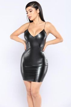 No Reservations Leather Dress - Black