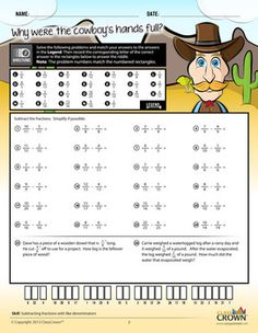 Printables Math Riddle Worksheets math fractions worksheets riddles pack 1 concepts 2 adding subtraction this fractions