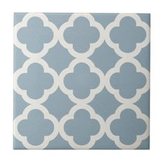 Chic Quatrefoil Pattern in Blue on Canvas Look Small Square Tile