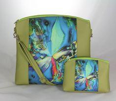 kabelka Nora + taštička zelená + kryštál