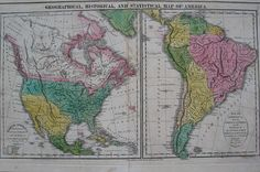 Antique Map www.mapsofantiquity.com Geographical-Historical-and-Statistical-Map-of-America.-North-America-Drawn-from-the-most-recent-Authorities-with-the-Tracks-of-Columbus-&-Cortez-Improved-to-1821-by-E.-Paguenaud.-South-America-w