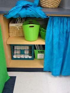 Fabric + tension rod for a curtain that will last via The Creative Chalkboard: Classroom Tour Pictures Galore! Classroom Cubbies, Classroom Curtains, Classroom Layout, Chalkboard Classroom, Classroom Design, Kindergarten Classroom, School Classroom, Classroom Themes, Classroom Organization