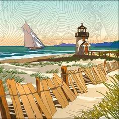Seaside illustration by Miles Hyman Studio  LindgrenSmith.com