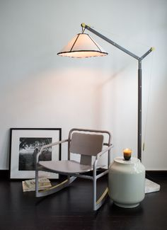 AKAR DE NISSIM's rocking chair MARCEAU, floor lamp LISERAN and side table SERRURE #Home #Decor #Lifestyle