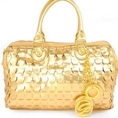 Amazon.com: Designer Inspired Unique Shape Woven Tote Satchel Boston Handbag Purse with Golden Galian Signature Chain Drop Accents in Gold: Clothing $61.99
