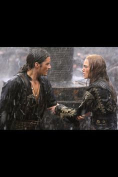 Elizabeth Swann and Will Turner...the scene where they got married abroad the ship while fighting made me laugh...then I cried afterwards...
