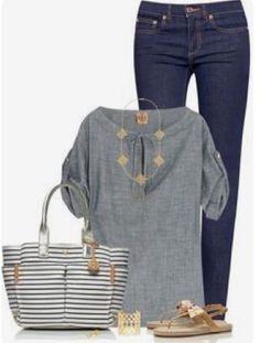 Spring & Summer 2017 Fashion! Stitch Fix - #sponsored #stitchfix - preppy, chambray, striped chambray, dark denim. striped tote.