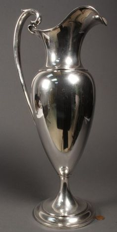 """Dominick Haff (NY, large sterling silver ewer, weighted, with no monograms or engravings. Marked """"Sterling, 13 IN"""" with the mark for Dominic Haff on base. Overall very good condition with some minor dents. Vintage Silver, Antique Silver, 925 Silver, Silver Jewelry, Sterling Silver, Indian Jewelry, Silver Earrings, Silver Rings Handmade, Art Object"""
