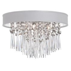 JMS144FH-PC-693 | 4 Light Crystal Flush Mount Fixture, Polished Chrome, White Baroness Micro Shade - JMS144FH-PC-693