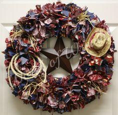 Cowboy/Western Fabric Wreath. $85.00, via Etsy.