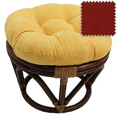 18Inch Bali Rattan Papasan Footstool with Cushion  Solid Microsuede Fabric Cardinal Red  Cardinal Red *** Be sure to check out this awesome product.Note:It is affiliate link to Amazon.