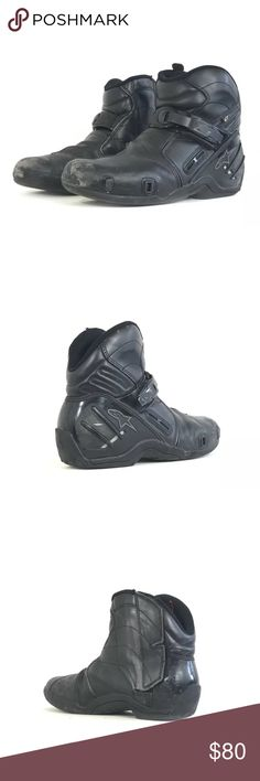 "Alpinestars smx2 Black Leather moto Boots 10.5 Type: Footwear Style: Men's Boots Brand: Alpinestars  Material: Leather and Composite Color: Black Measurements: 11.25"" L x 8"" H x 4.125"" W Condition: Used - excellent condition! Country of Manufacture: China Stock Number: Alpinestars Shoes Boots"