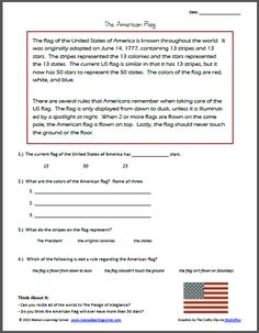 flag day reading comprehension worksheets