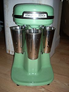 """VINTAGE TRIPLE HAMILTON BEACH MILKSHAKE MACHINE. Oh, it would be so cool to have one of these. I know from my days in """"the biz"""", that they make the best milkshakes!"""