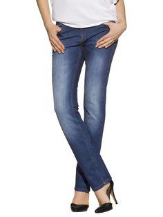Jeans in 5-Pocket-Form mit Reissverschluss und Bund mit Gürtelschlaufen. Vertiefte Leibhöhe. Sehr figurbetonte, Schrittlänge in Gr. 38 ca. 80 cm, Saumweite ca. 36 cm. Obermaterial: 98% Baumwolle, 2% Elasthan, waschbar...