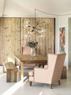 Adam Rolston, Gabriel Benroth, Drew Stuart, New York, NYC, Boho, dining room, chandelier, art, bamboo, wood, bench, table, chair, pink, hanging, vase, flowers