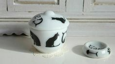 Cat's Treats Porcelain Dollhouse Miniature by Twelvetimesmoreteeny