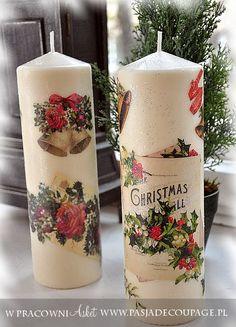 świąteczna dekoracja stołu i wnętrza - świece decoupage