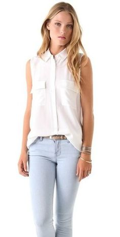 The silk blouse! For you, I like sleeveless because I think you should layer more. You can wear this all year round. You can couple it with a sweater or blazer. Its so useful. You can even add a statement necklace to make it pop with some colorful pants!