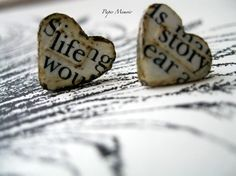 Paper Jewelry Vintage Inspired Heart Post Earrings by PaperMemoirs. $10.00 USD, via Etsy.