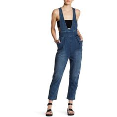 tibi Denim High Waist Overall (215 CAD) ❤ liked on Polyvore featuring jumpsuits, vinde, blue jumpsuit, sleeveless jumpsuits, wide leg jumpsuits, tibi and tibi jumpsuit