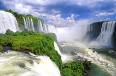 """Iguazu Falls, borders Argentina, Brazil, and Paraguay. (This would more than satisfy, places at once"""" dream too! Great Places, Places To See, Beautiful Places, Take Me Away, Travel Literature, Equador, Argentina Travel, Beautiful Waterfalls, Viajes"""