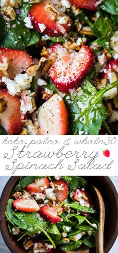 Paleo, Low Carb & Keto Strawberry Spinach Salad #keto #lowcarb #paleo #whole30 #strawberries #salad #healthyrecipes #ketodiet