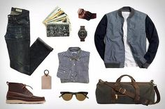 Bomber jacket, moc toes, weekend bag