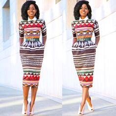 Folake Huntoon (@stylepantry) Tribal Print Midi Dress.