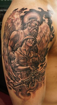 Angel soldier tattoo colored ink soldier angel tattoo tattooshunt happy tattoo bubble gum angel tattoo designs for men publicscrutiny Image collections
