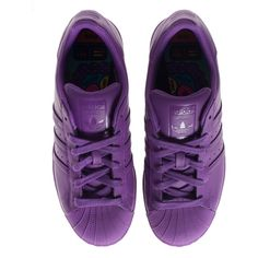ADIDAS X PHARRELL WILLIAMS Superstar Supercolor Ray Purple Flat... (£71) ❤ liked on Polyvore featuring shoes, sneakers, flat sneakers, leather trainers, real leather shoes, leather sneakers and purple sneakers