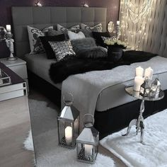 gray bedroom with pop of color ; gray bedroom ideas with pop of color ; gray bedroom ideas for couples ; Suites, Bedroom Inspo, Bedroom Decor Glam, Bedroom Themes, Dark Furniture Bedroom, Bedroom Colors, Design Bedroom, Mirrored Furniture, Gray Room Decor