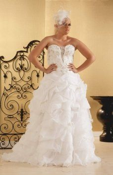 Real Size Bride Spencer----plus Size Organza Ball Gowns With Feath Wedding Dress 50% off retail