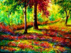 Intermediate painting idea. Beautiful autumn trees, wildflowers and a pretty meadow. Someday by AnnMarieBone.deviantart.com on @deviantART