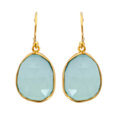 Handcrafted earrings with dangling chalcedony stones in gold-plated settings.   Product: Pair of earringsConstruction Ma...