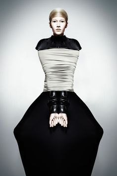 Sculptural Fashion - black dress with graphic silhouette; fashion as art // Anastasiya Komarova
