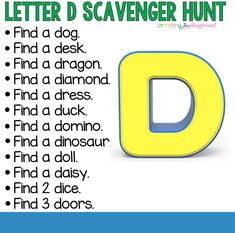 Letter D Scavenger Hunt - Alphabet Activities, Literacy Activities, Math Games, Family Activities, Hunt Games, Teaching Resources, Water Games For Kids, Indoor Activities For Kids, Outdoor Activities