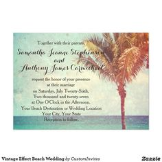 Vintage Effect Beach Wedding 5x7 Paper Invitation Card